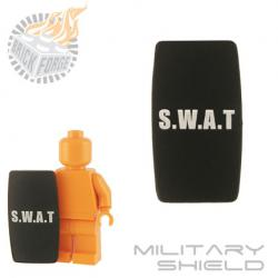 Military Shield - Black (white SWAT print)