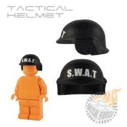 Tactical Helmet - Black (white SWAT print)