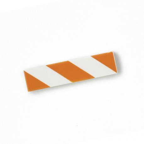 Hazard Tile 1x4 (Orange & White)