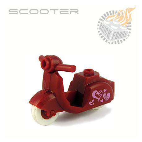 Scooter - Dark Red (Hearts print)