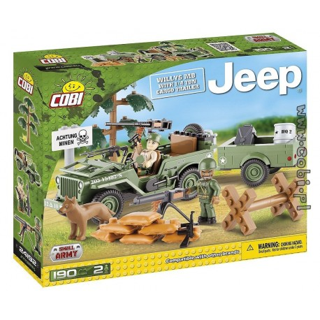 Cobi Jeep Willys MB with 1/4 Ton Cargo Trailer
