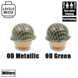 Netted US M1 Helmet - OD/Mettalic